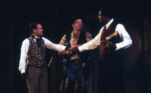 The Host of the Garter (Dan McLeary) has Dr. Caius (Mark Rector) and Sir Hugh Evans (Johnny Lee Davenport) make up after they learn they have been duped into dueling. (PHOTO: Orlando-UCF Shakespeare Festival)