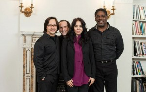 With castmates Ted Hewlett and Jeremiah Kissel and playwright Theresia Walser (PHOTO: QFoto)