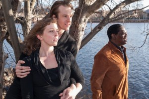 Out on the Charles River with 'Pericles' castmates Kathryn Lynch and Jesse Hinson, who will be playing Thaisa and Pericles, respectively. One step closer to completing Shakespeare's canon, Johnny will be playing Helicanus and other roles. (PHOTO: J. Stratton McCrady)