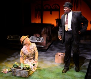 As Daisy (Lindsay Crouse) tends to her husband's grave, Hoke admits to her that he can't read. (PHOTO: Gary Ng)