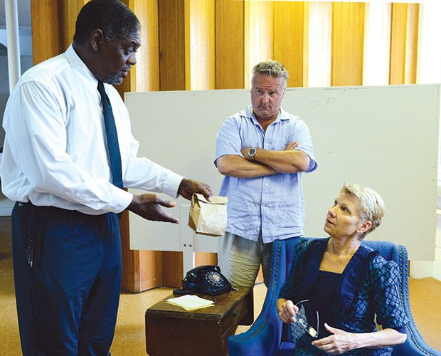 In a show listed among Boston's Best in 2013, Johnny Lee Davenport, Robert Pemberton, and Lindsay Crouse rehearse for Gloucester Stage's production of Driving Miss Daisy by Alfred Uhry and directed by Benny Sato Ambush.