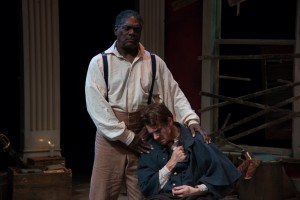 As Simon, comforting Caleb (Jesse Hinson) in his grief (PHOTO: Andrew Brilliant)