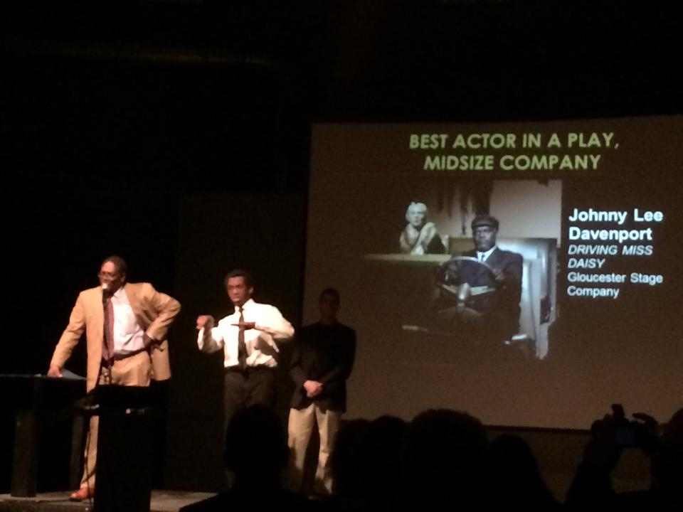 Johnny Lee Davenport accepts an IRNE for Best Actor in a Midsize Theatre Production.
