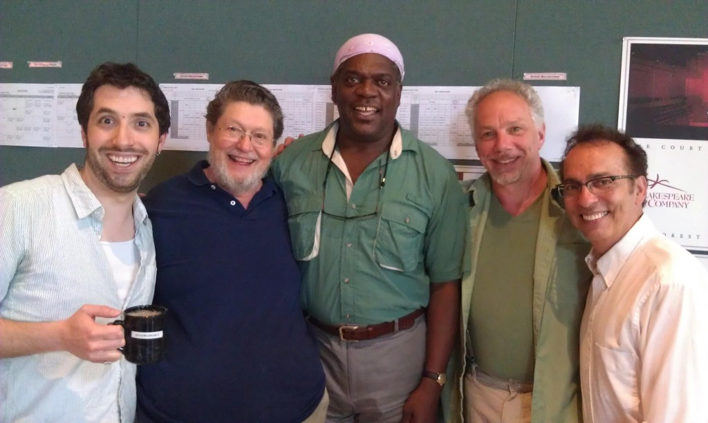 """On the first day of rehearsals for """"A Midsummer Night's Dream,"""" with friends and fellow artists Alex Sovronsky, Bob Lohbauer, Jonny Epstein, and Tony Simotes"""