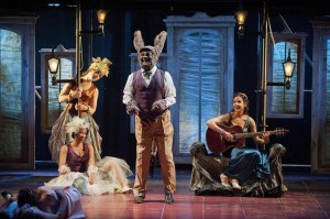 "As Bottom, dancing as Titania (Merritt Janson) plays ""Goin' Fishin'"" and the faeries (Briana Maia and Atalanta Siegel) sing along (PHOTO: Kevin Sprague)"