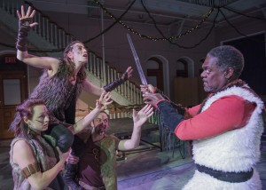 Beowulf attacks Grendel (Rachel Wiese, Rebecca Lehrhoff, Jesse Garlick). (PHOTO: Andrew Brilliant)