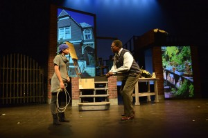 Akeelah and Dr. Larabee discover that rhythm is a key to her spelling memory. (PHOTO: Wheelock Family Theatre)
